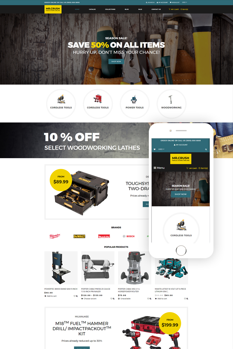 """Mr. Crush - Tools & Equipment Multipage Clean"" - адаптивний Shopify шаблон №79013"