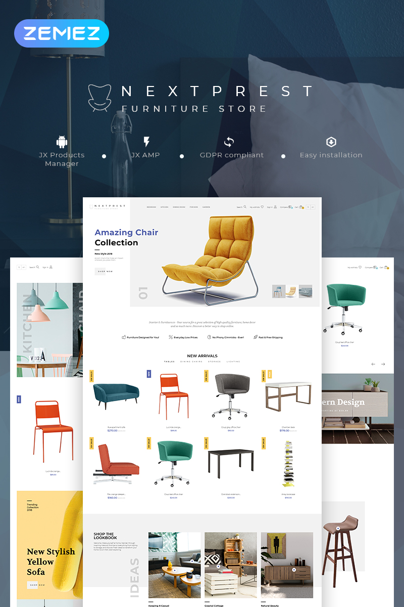 Responsivt Nextprest - Furniture Store Clean Bootstrap Ecommerce PrestaShop-tema #79045 - skärmbild