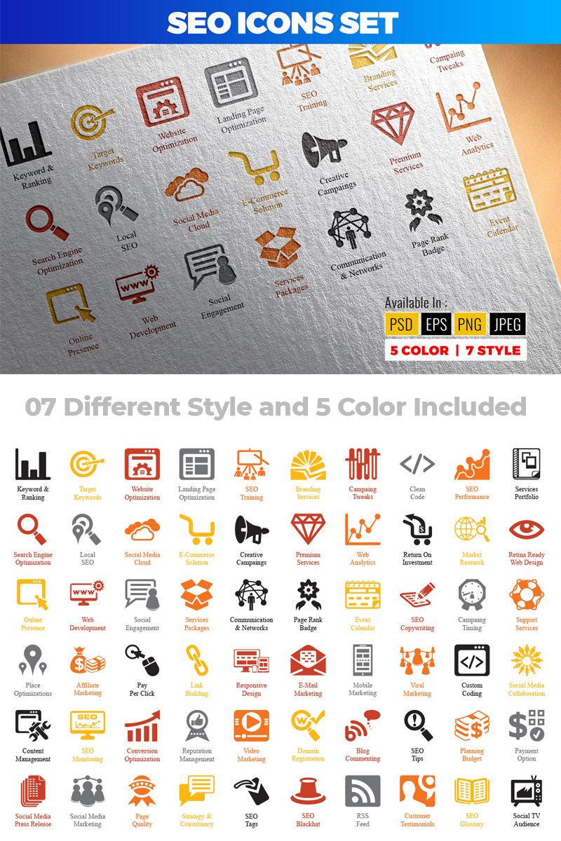 SEO (Search Engine Optimization) Iconset Template
