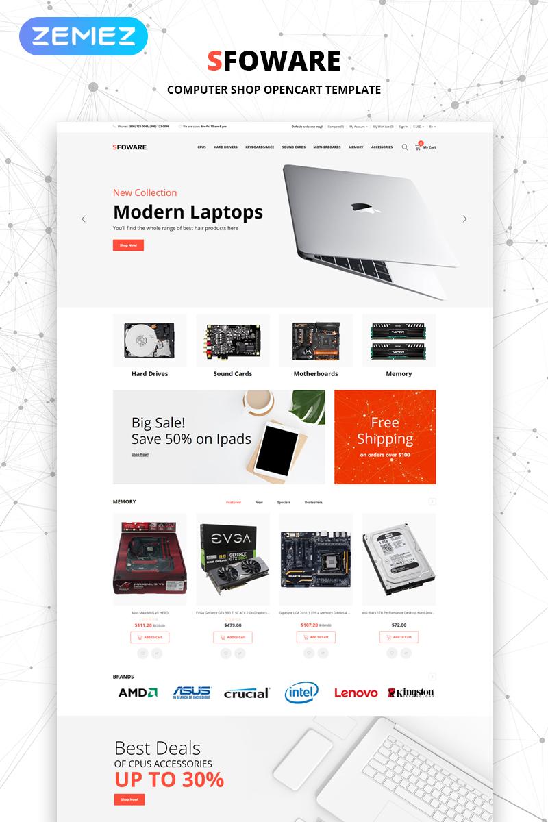"""Sfoware - Computer Shop Multipage Clean"" thème OpenCart adaptatif #79079"