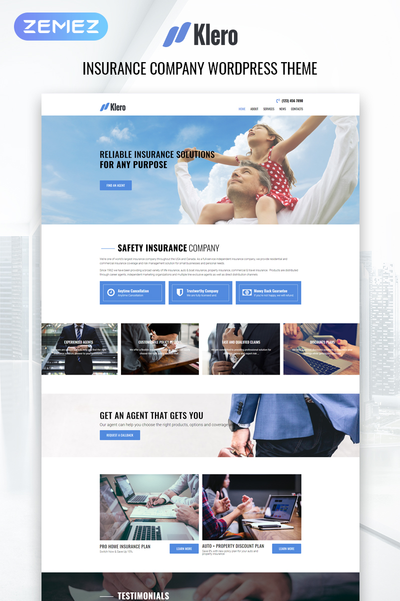 "Tema De WordPress ""Klero - Insurance Services Multipurpose Classic Elementor"" #79091"