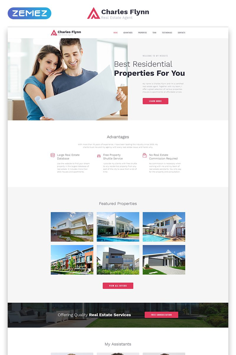 """Template di Landing Page Responsive #79027 """"Charles Flynn - Real Estate Agency Clean HTML"""""""