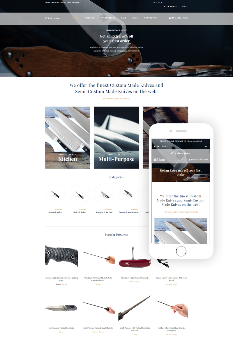 """Template Shopify Responsive #79015 """"Knives store - Weapons Store Clean"""""""