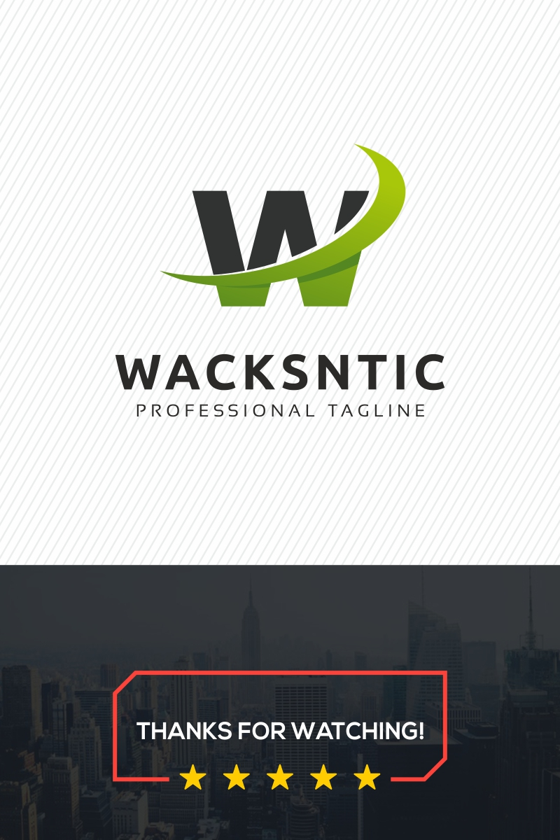 W Letter - Wacksntic Template de Logotipo №79075
