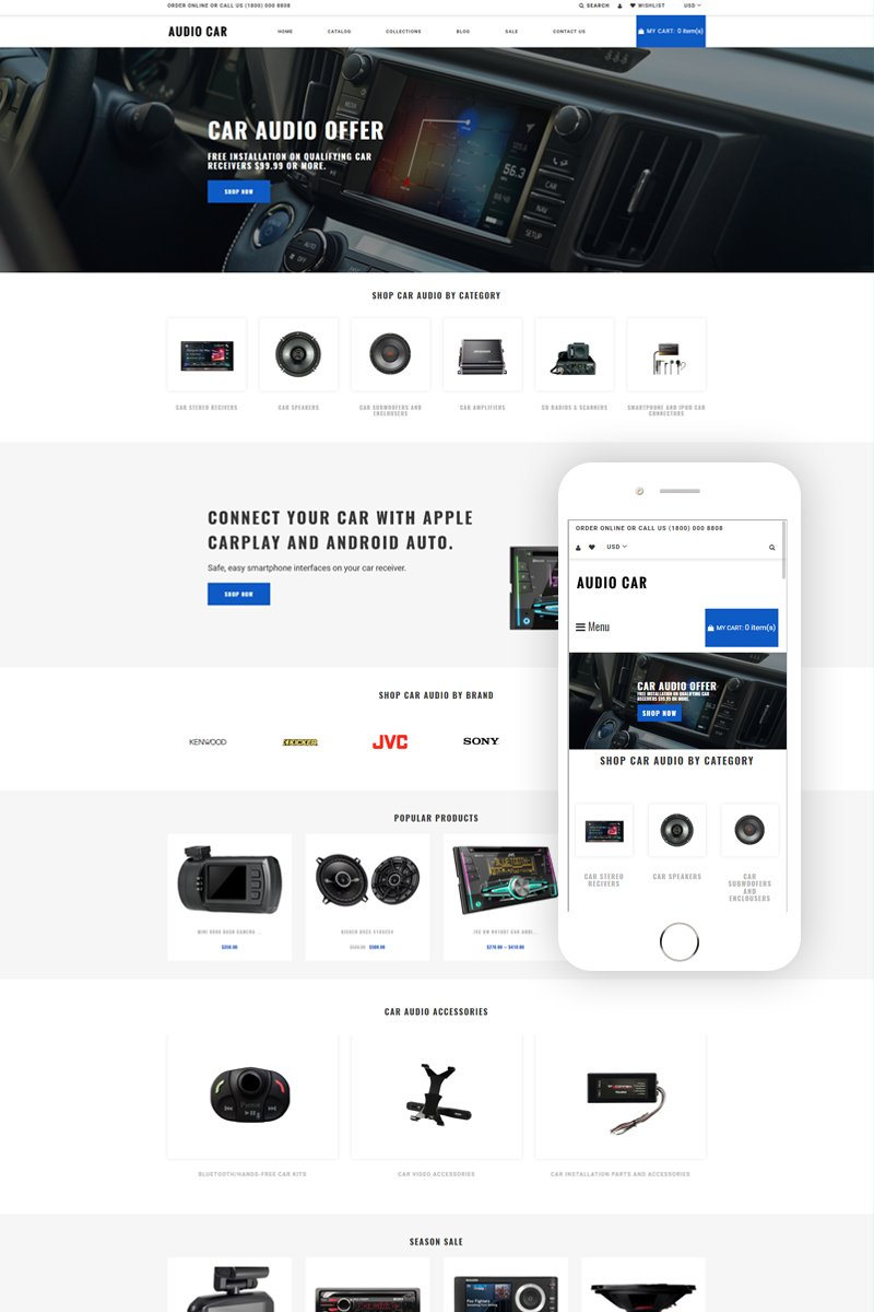Audio Car - Car Audio Multipage Modern Shopify Theme - screenshot