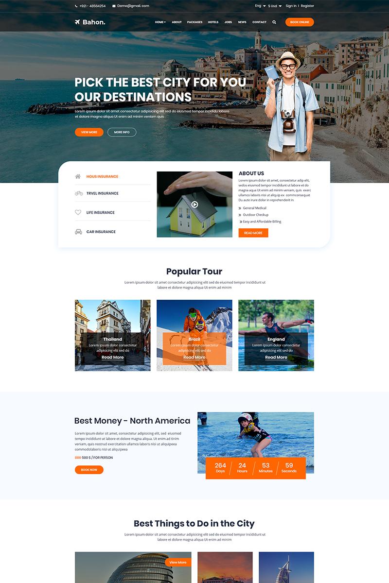 Bootstrap szablon PSD Bahon - Travel Agency #79100