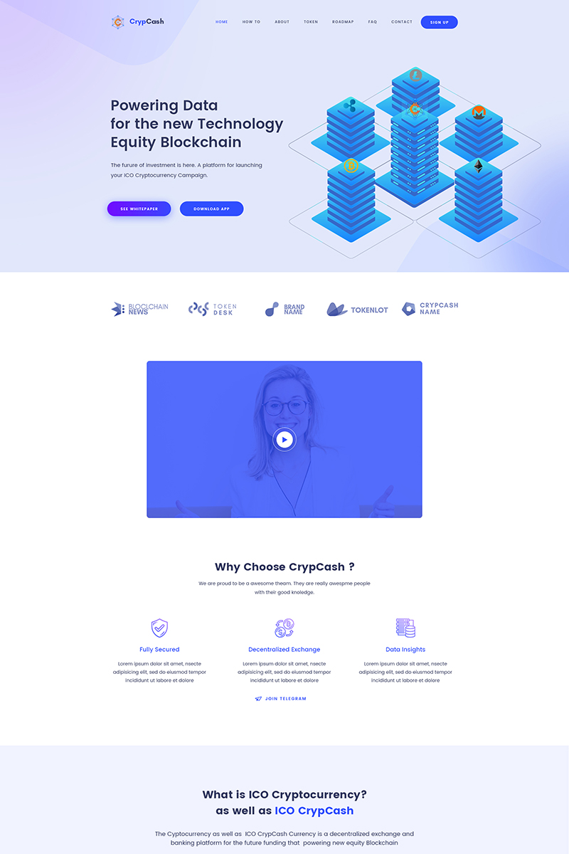 """""""Crypcash - ICO, Bitcoin and Cryptocurrency"""" thème WordPress Bootstrap #79133"""