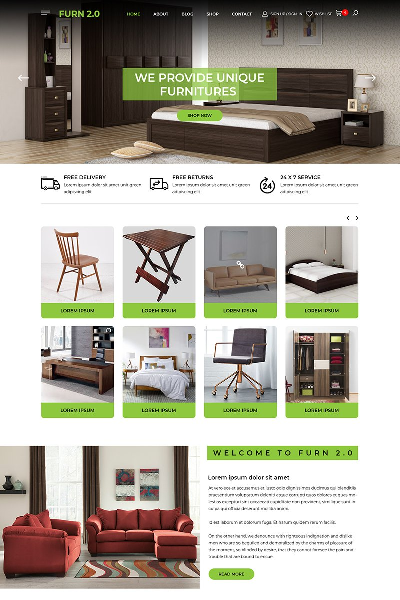 Furn 2.0 - Multipurpose Furniture Store PSD Template - screenshot