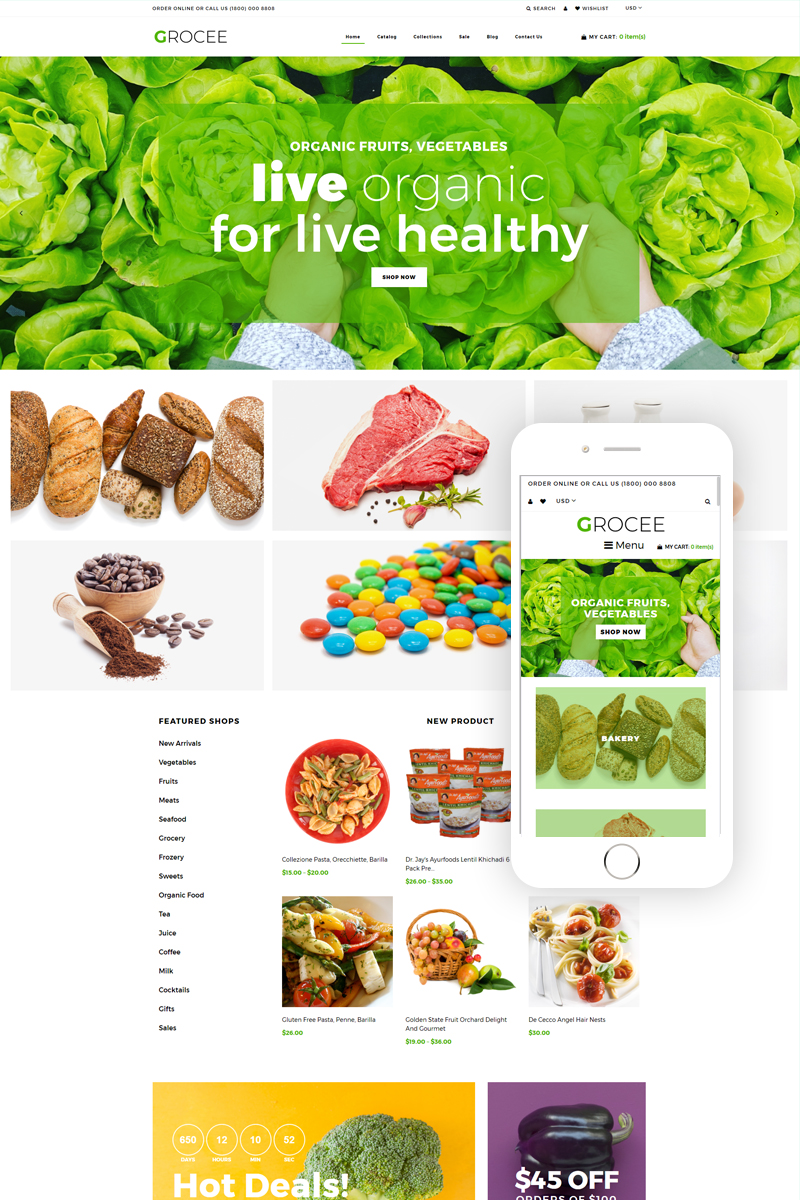 GROCEE - Food Store Multipage Clean Shopify Theme - screenshot