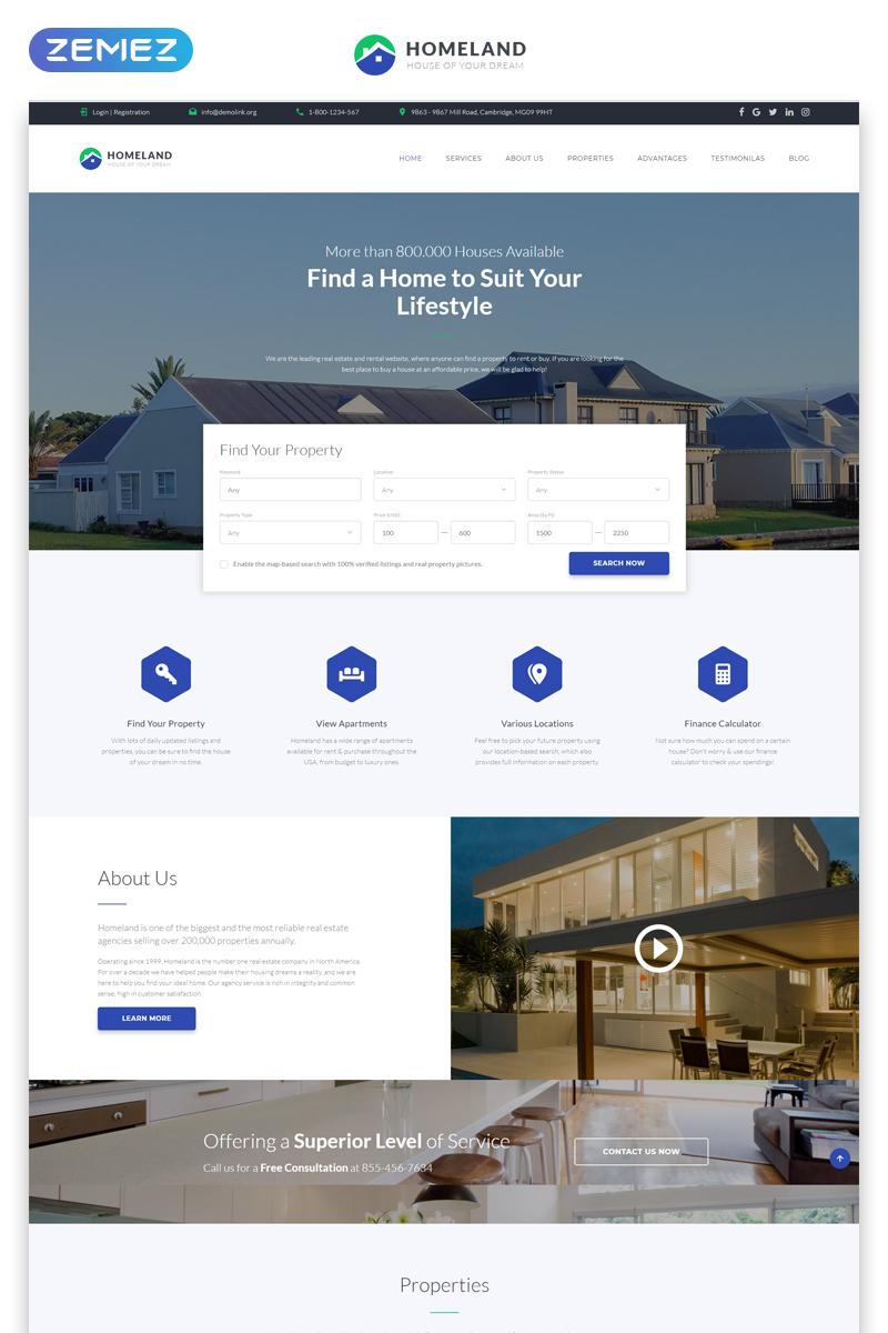 """Homeland - Real Estate Agency Classic Bootstrap4 HTML"" - адаптивний Шаблон цільової сторінки №79169"