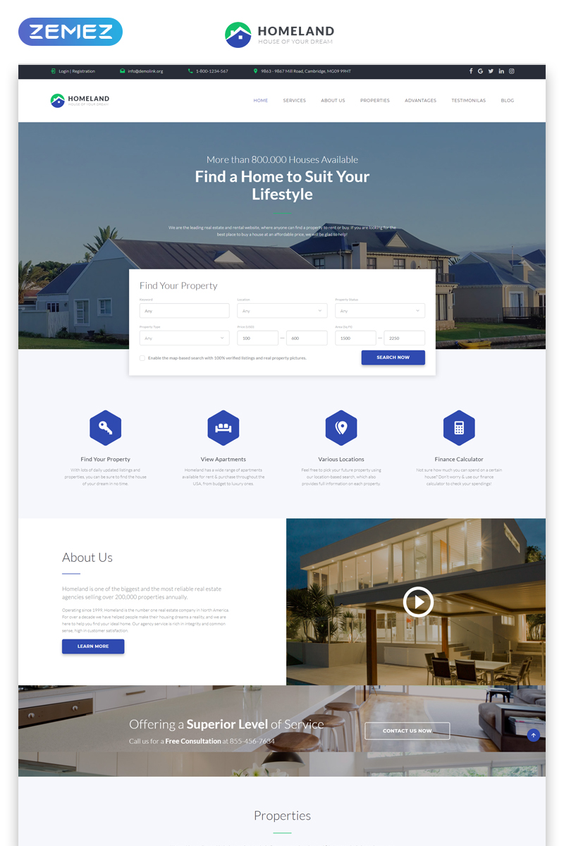 Homeland - Real Estate Agency Classic Bootstrap4 HTML Landing Page Template - screenshot