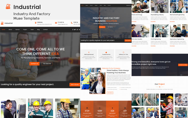 Industrial – Industry And Factory Muse Template - screenshot