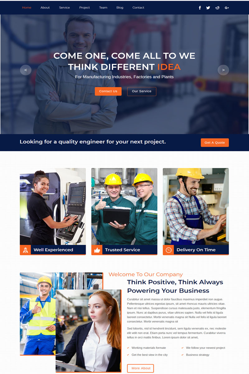 """Industrial - Industry And Factory"" Responsive Muse Template №79155 - screenshot"