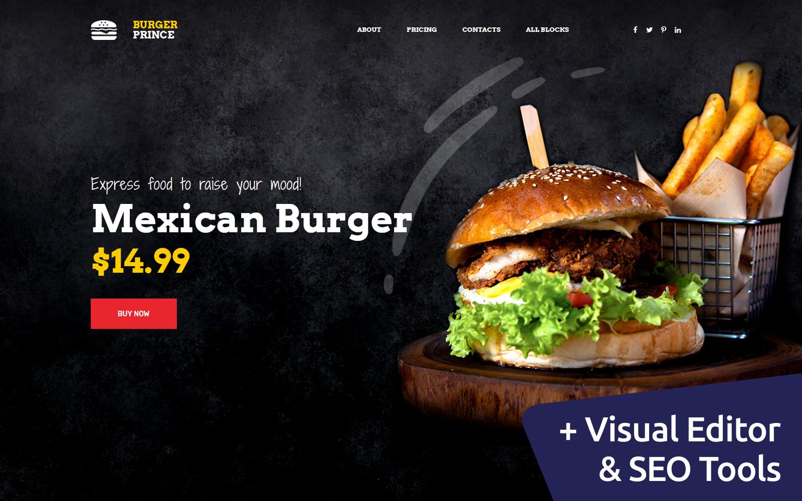 "Landing Page Template namens ""Burger Prince"" #79170"