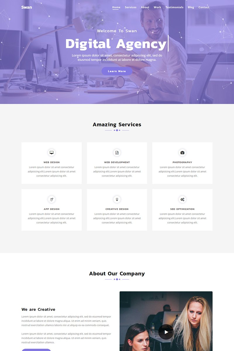 """Landing Page Template namens """"Swan - Parallax Agency"""" #79181"""