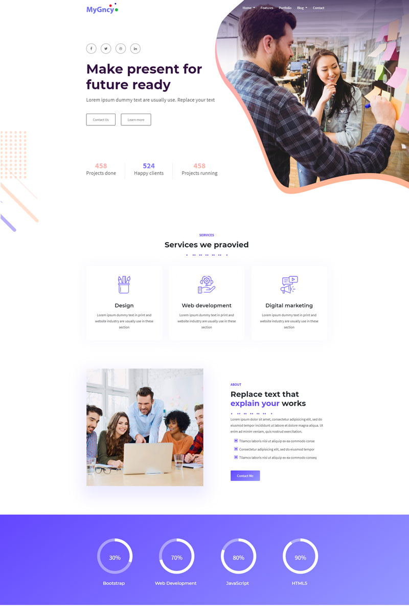 MyGncy - Agency Responsive Landing Page Template - screenshot