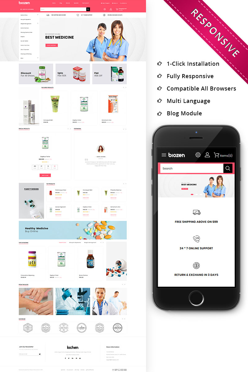 "OpenCart Vorlage namens ""BioZen - The Medical Store Responsive"" #79134"