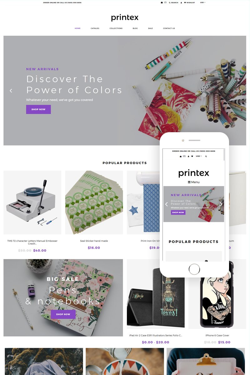 """""""Printex - Print Shop Multipage Modern Shopify Theme"""" Responsive Shopify Thema №79136"""