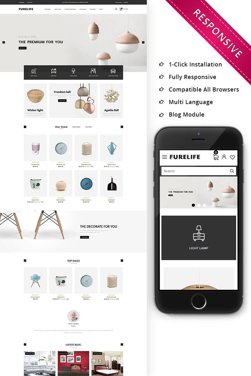 Responsivt Furelife - The Furniture Shop Responsive OpenCart-mall #79185