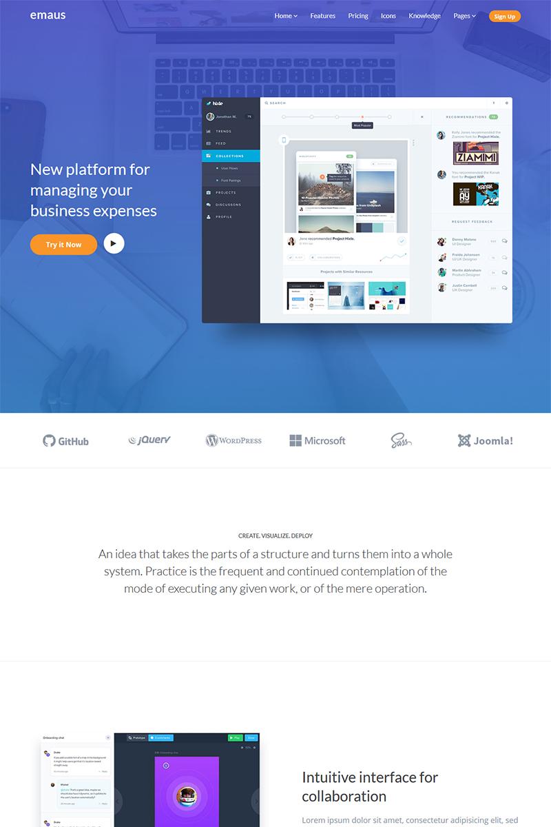 Responsywny szablon Joomla Emaus | SaaS, WebApp, Ebook Responsive Landing Page | Software #79102