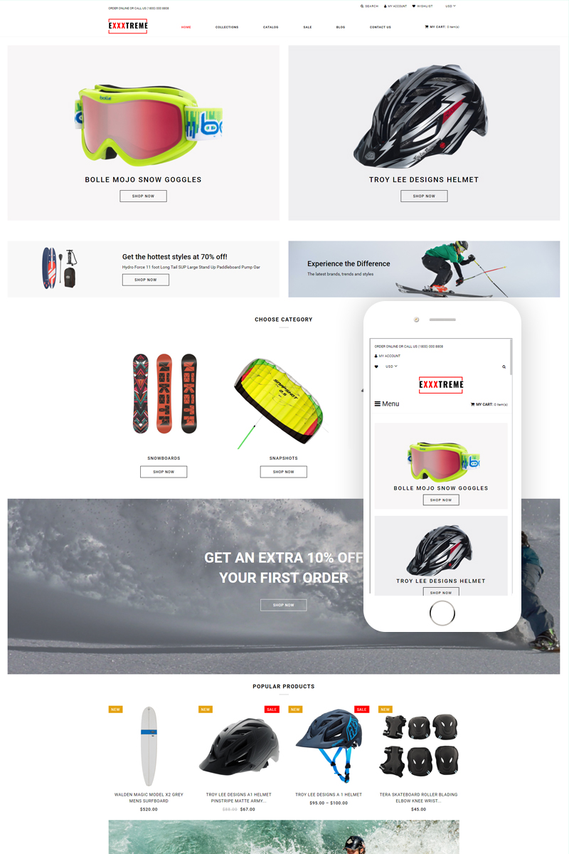 Responsywny szablon Shopify Exxxtreme - Extreme Sports E-commerce Clean #79167
