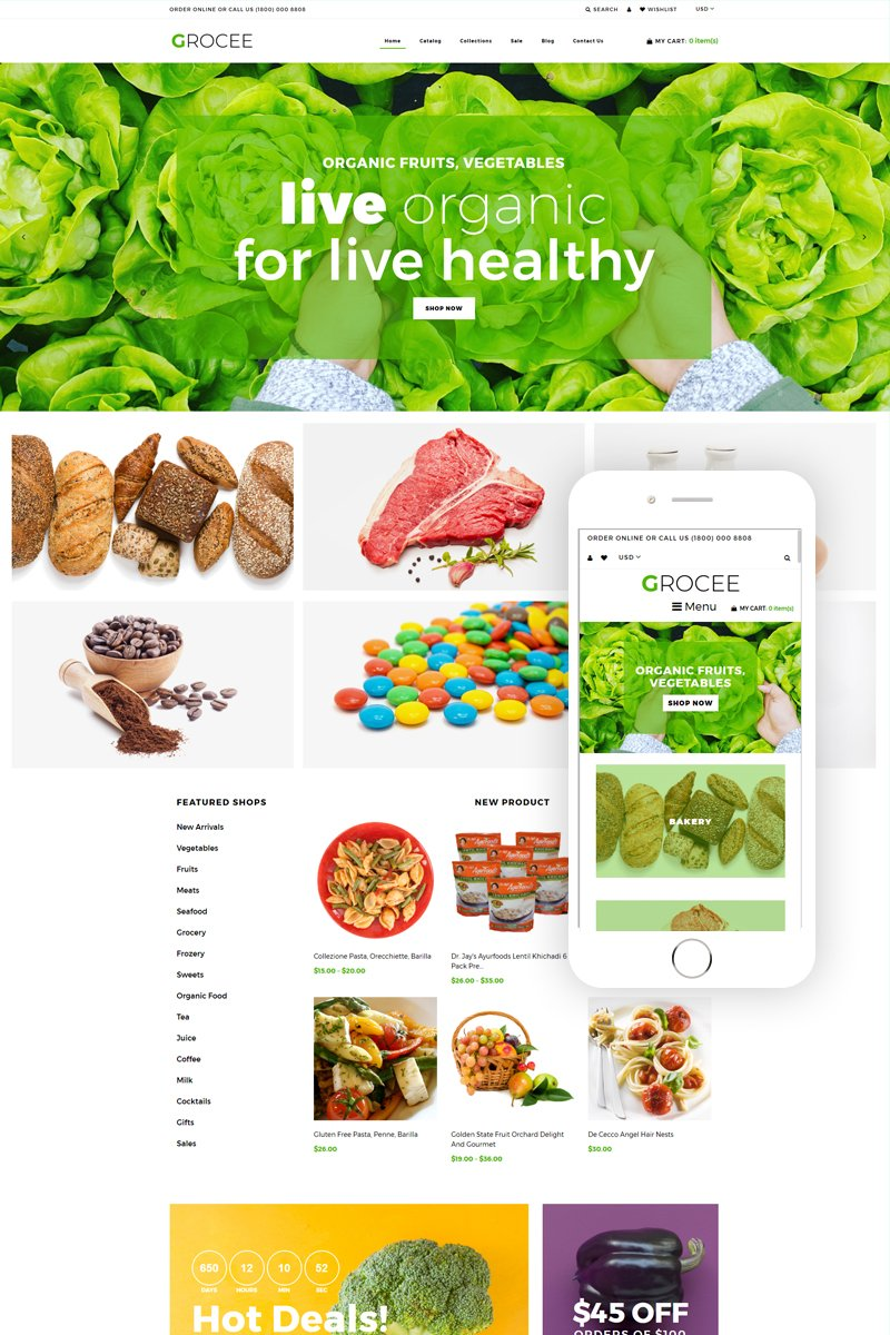 Responsywny szablon Shopify GROCEE - Food Store Multipage Clean #79196