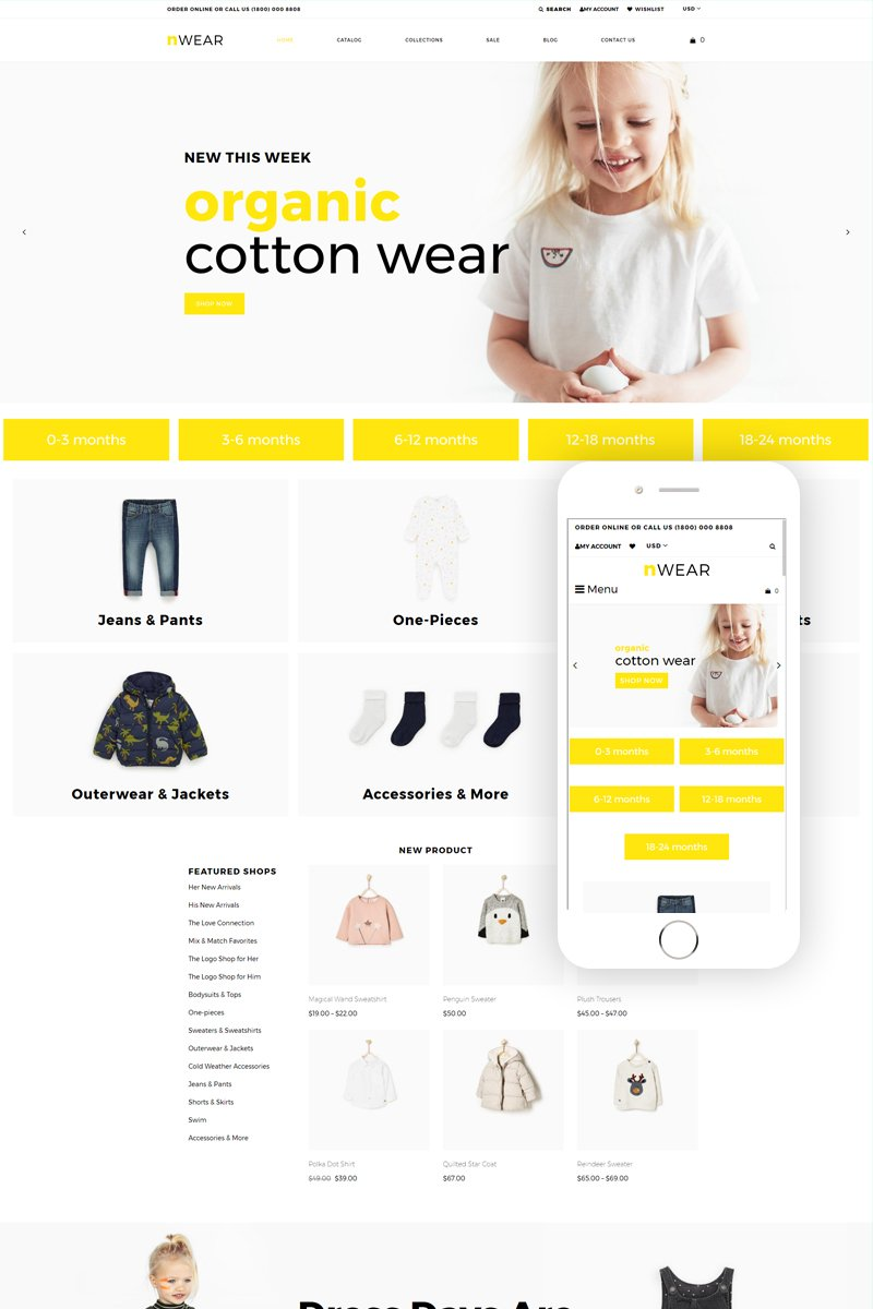 "Tema Shopify ""nWear - Kids Fashion & Clothing Multipage Clean"" #79114"