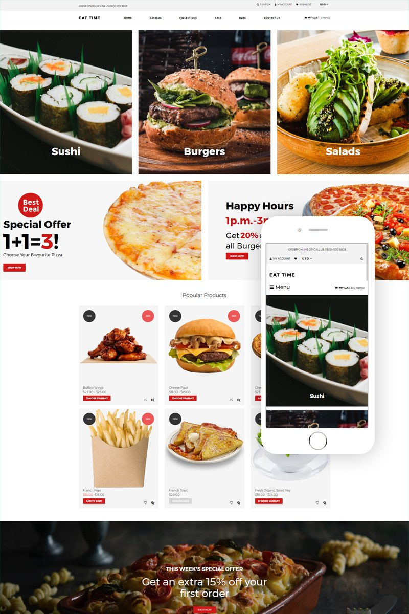 """Template Shopify Responsive #79135 """"Eat time - Food Store Clean"""""""