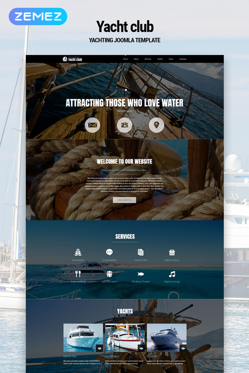 """""""Yacht club - Yachting Multipage Modern"""" Responsive Joomla Template №79178"""