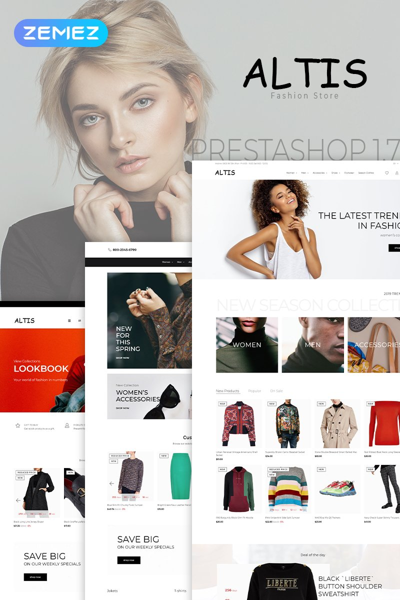 """Altis - Fashion Store Clean Bootstrap Ecommerce"" thème PrestaShop adaptatif #79205"