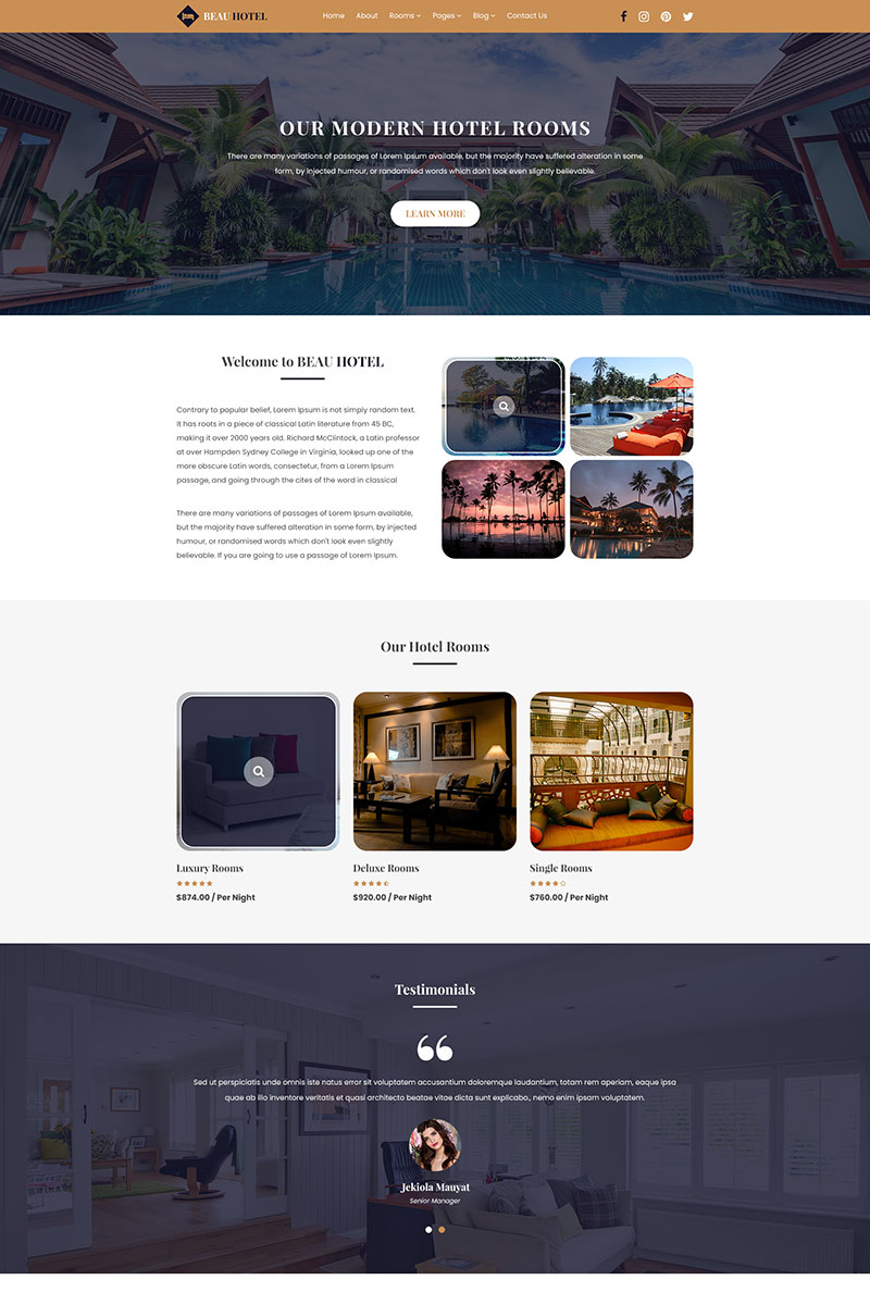 BEAU HOTEL | Hotel And Resort PSD Template