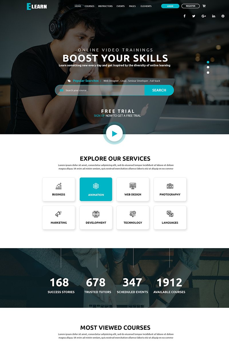 Bootstrap Elearn PSD-mall #79283