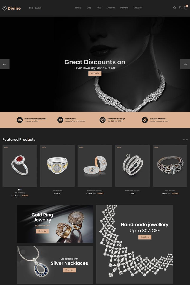 Bootstrap szablon PrestaShop Divine - Jewellery Black #79271 - zrzut ekranu