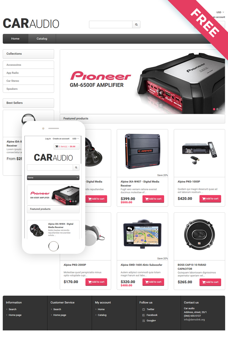 CarAudio - Car Parts eCommerce Clean Shopify Theme - screenshot