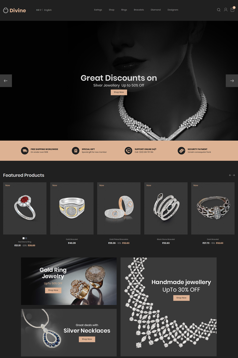 """Divine - Jewellery Black"" Bootstrap PrestaShop Thema №79271"