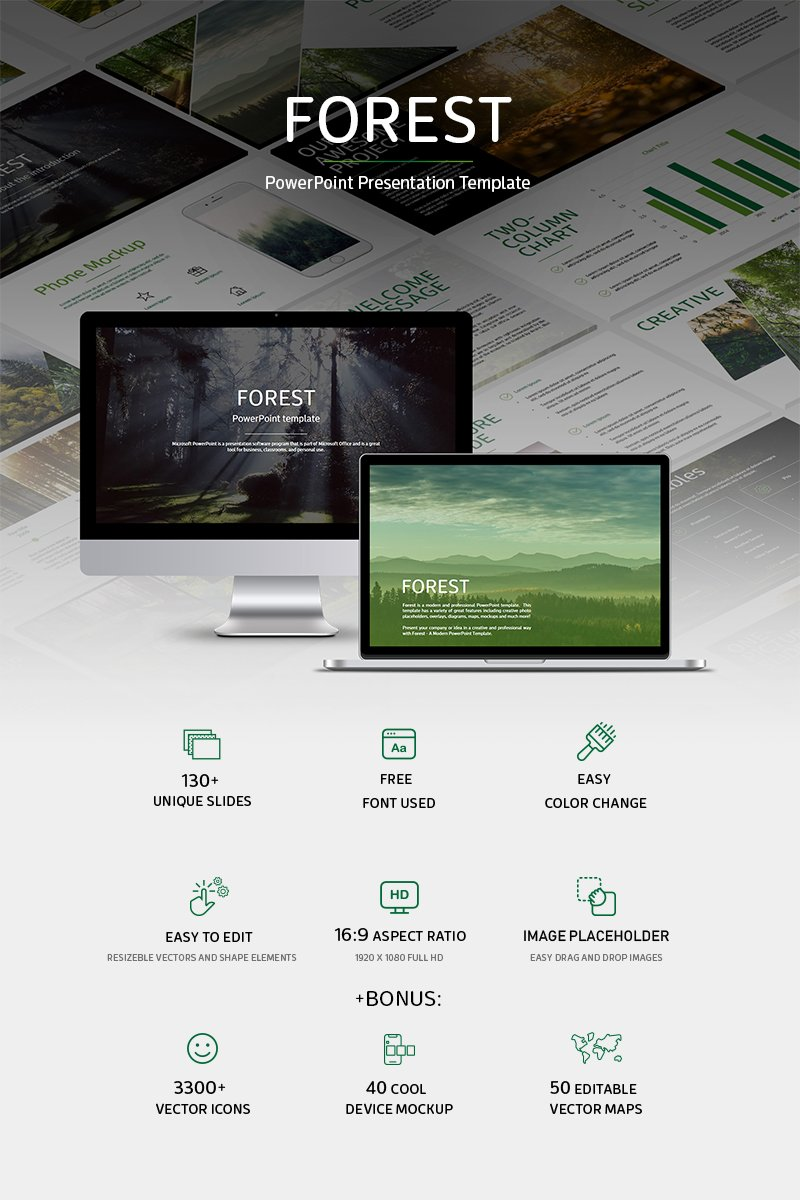 """Forest-"" Responsive PowerPoint Template №79237"