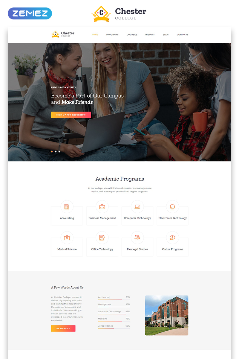 "Landing Page Template namens ""Chester - University Modern HTML Bootstrap"" #79219"