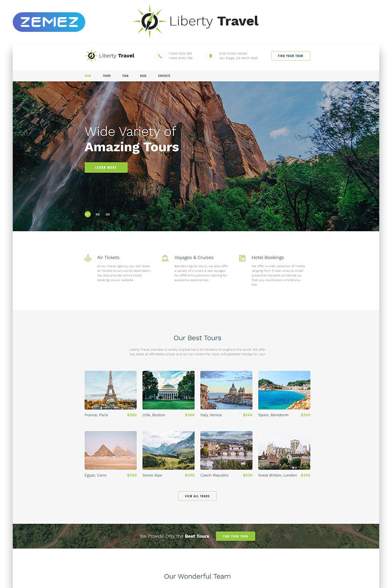 """Landing Page Template namens """"Liberty Travel - Travel Agency  Modern HTML Bootstrap"""" #79255"""