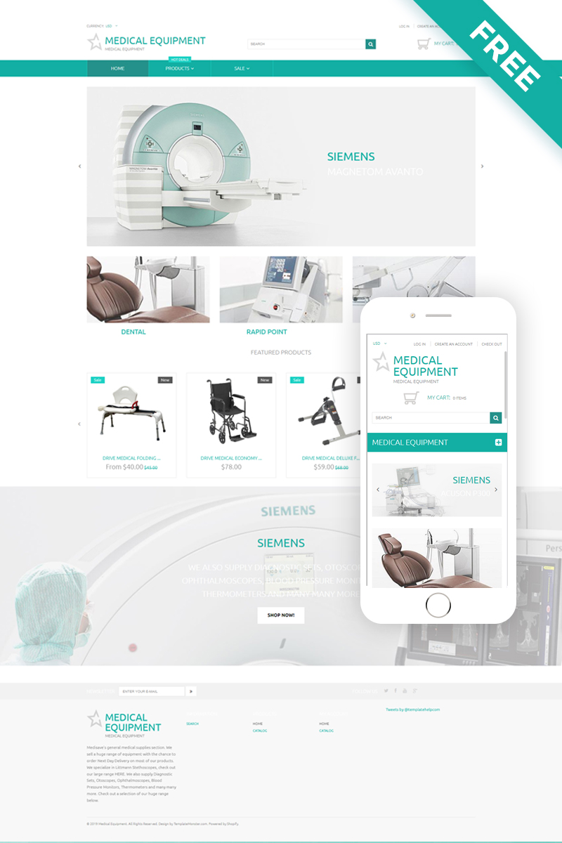 Medical Equipment - Medical Equipment Multipage Clean Shopify Theme - screenshot