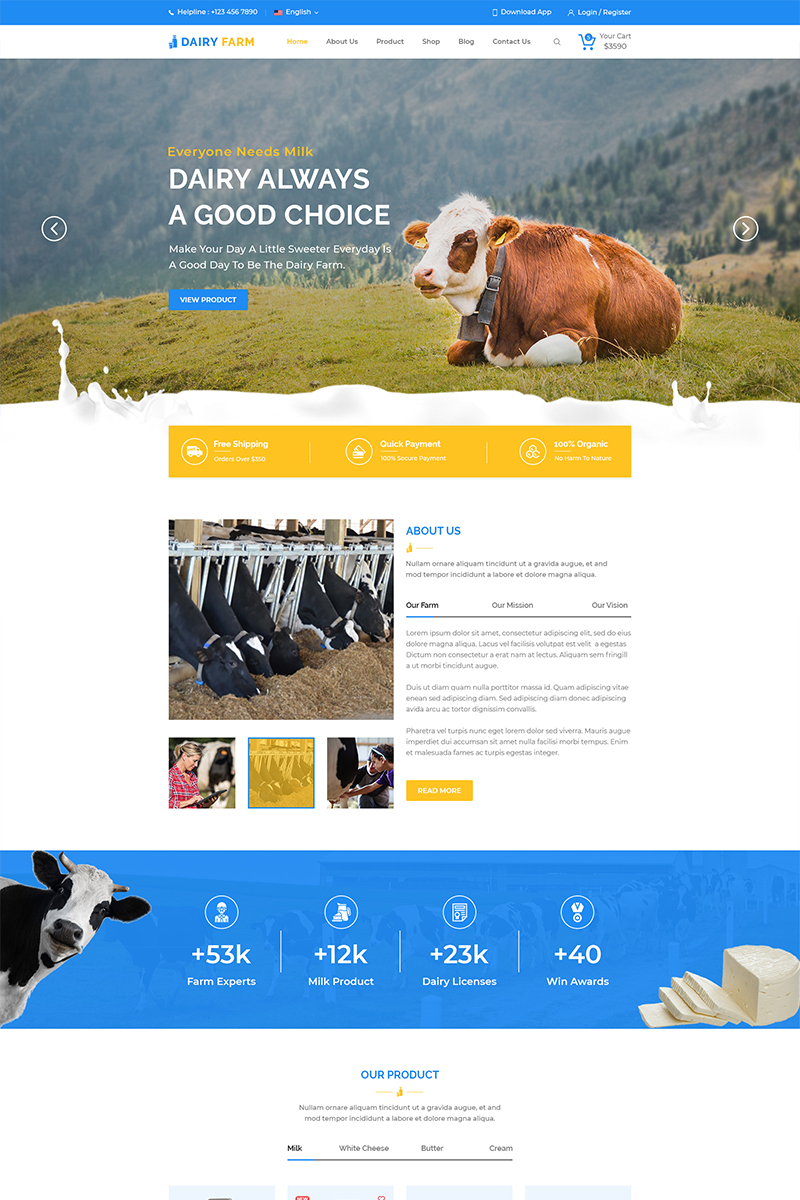 """Milkman Dairy Farm Multipage"" - адаптивний PSD шаблон №79247"