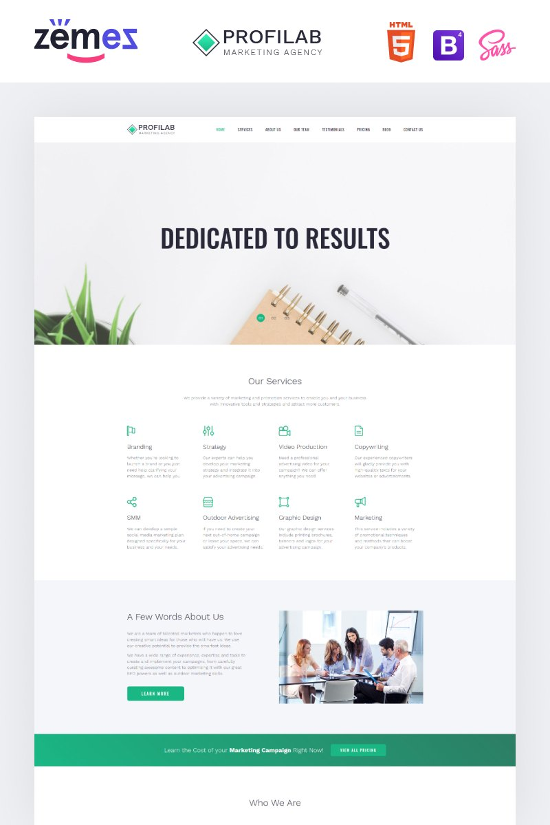 "Modello di Landing Page Responsive #79220 ""Profilab - Marketing Agency Clean HTML Bootstrap"""