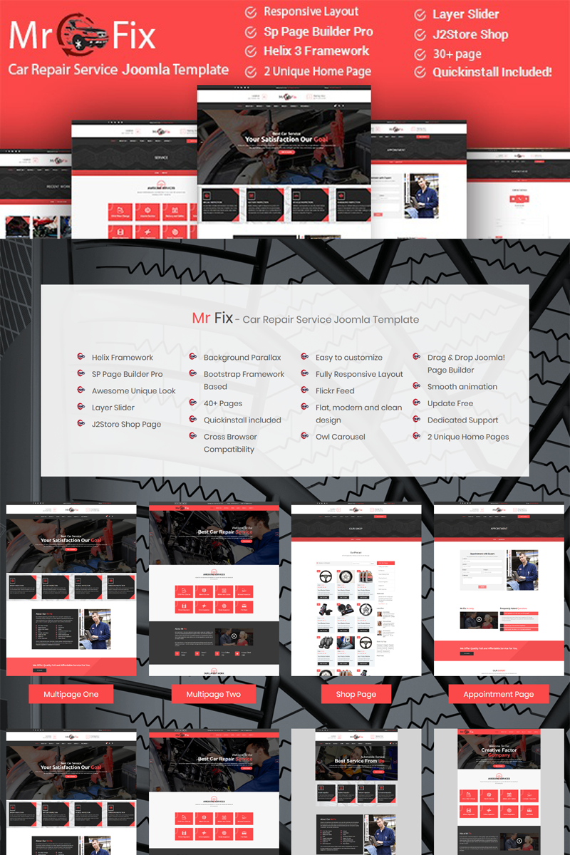 """Mr Fix - Car Repair Service Business"" thème Joomla adaptatif #79229"