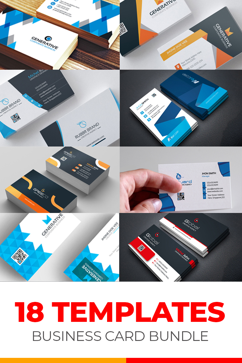 "Plantilla De Identidad Corporativa ""Business Card 18 Templates Bundle"" #79285"