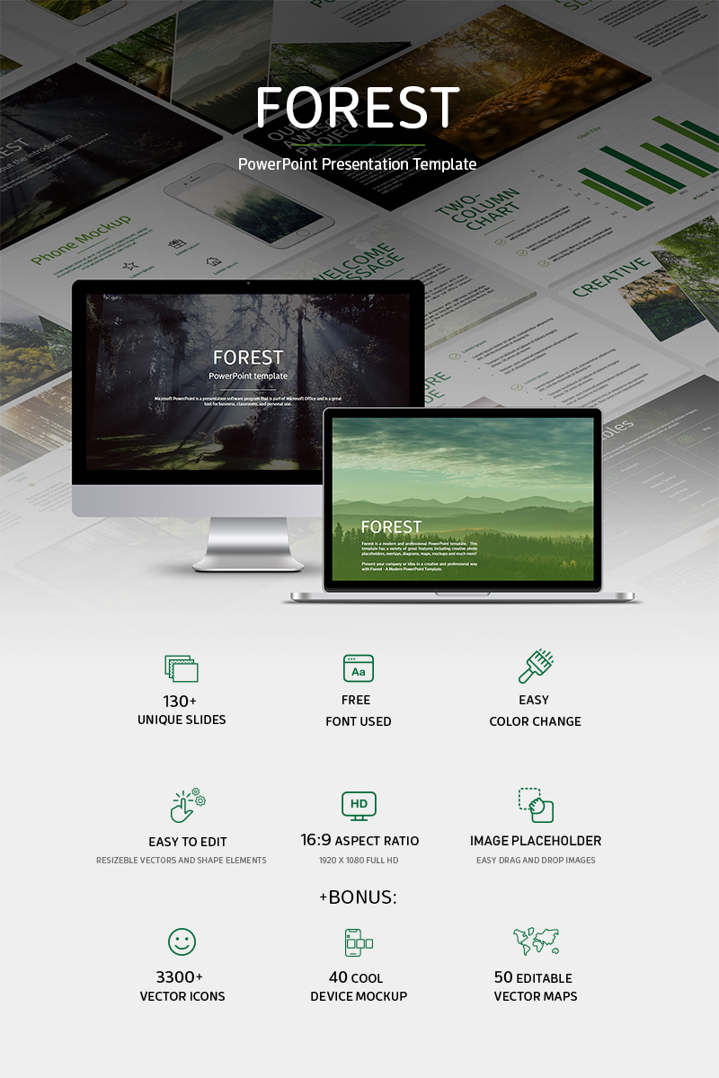 "Plantilla PowerPoint ""Forest-"" #79237"