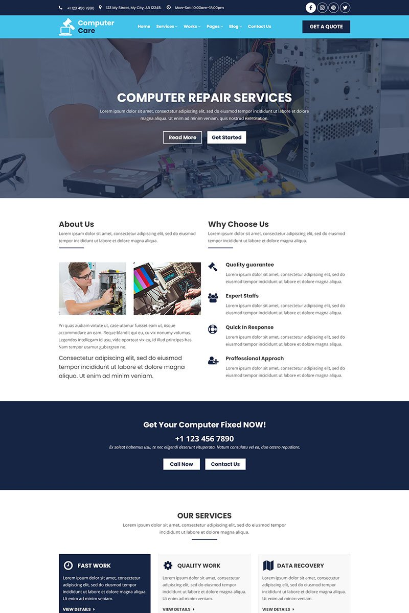Responsive Computer Care | Mobile and Computer Repair Psd #79243