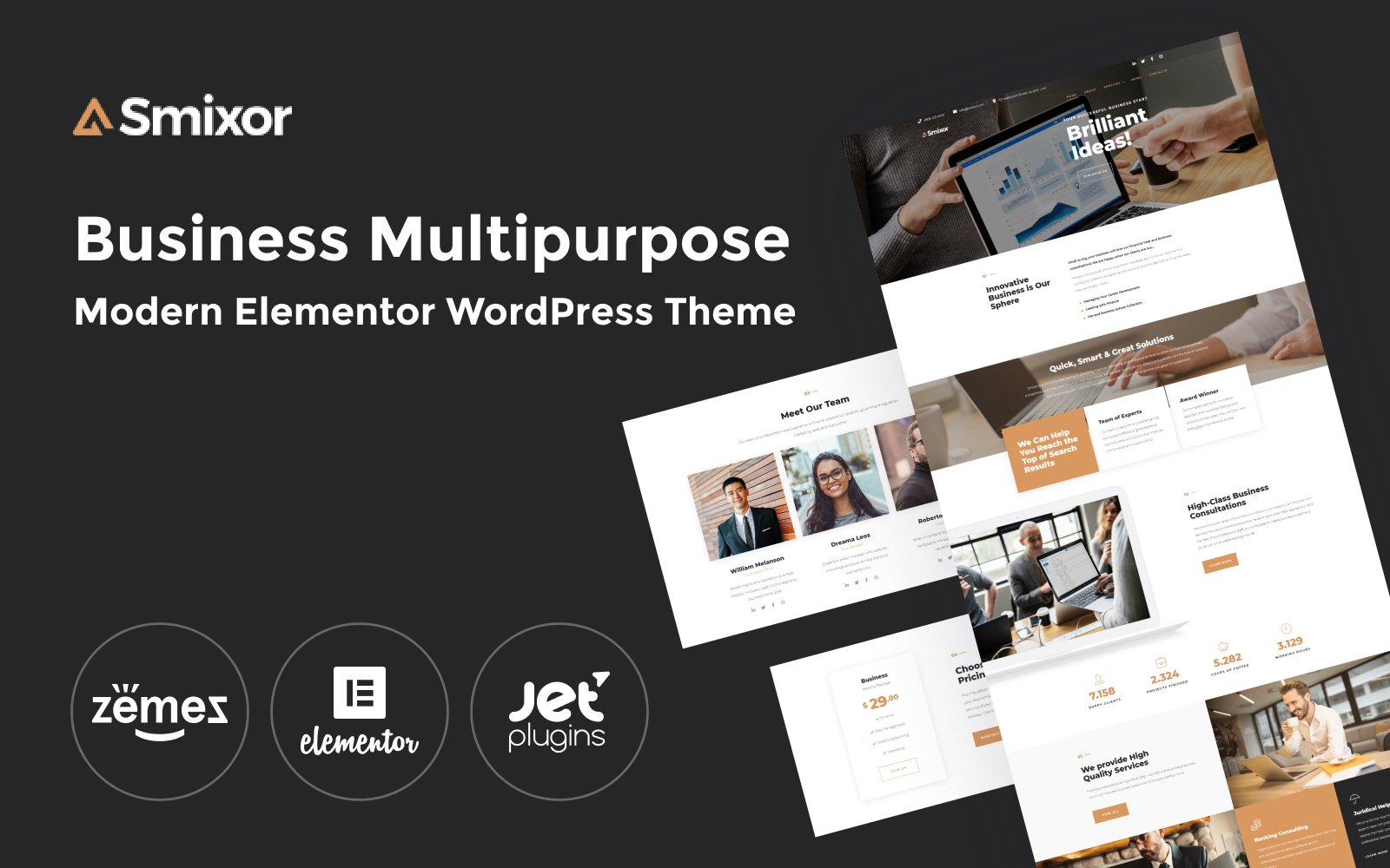 Responsive Smixor - Business Multipurpose Modern Elementor Wordpress #79224