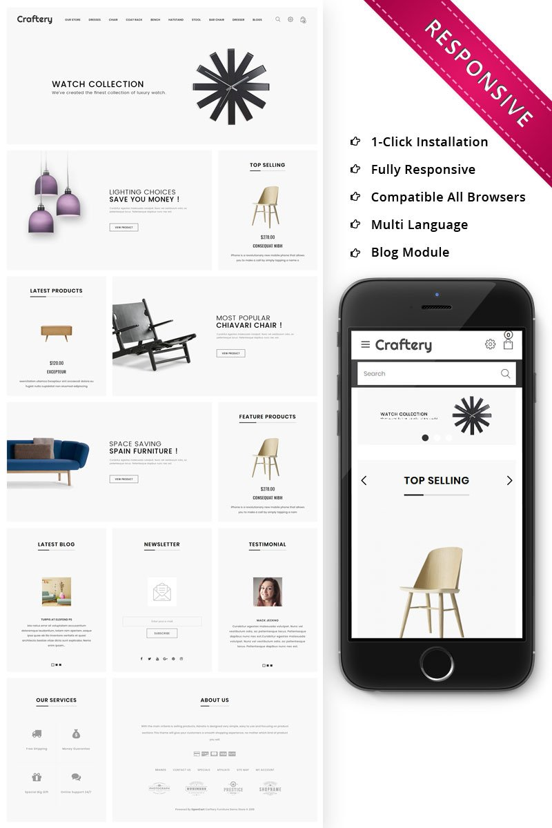 Responsivt Craftery - The Furniture Store Responsive OpenCart-mall #79281