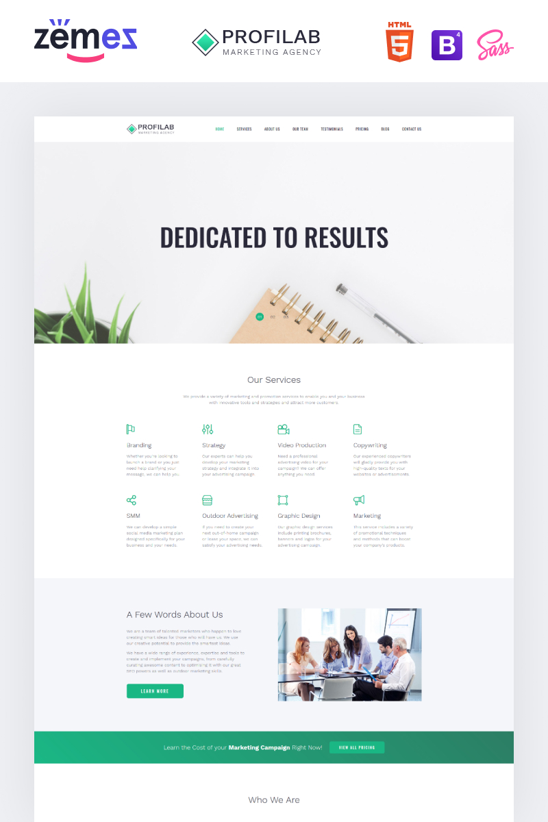 Responsivt Profilab - Marketing Agency Clean HTML Bootstrap Landing Page-mall #79220