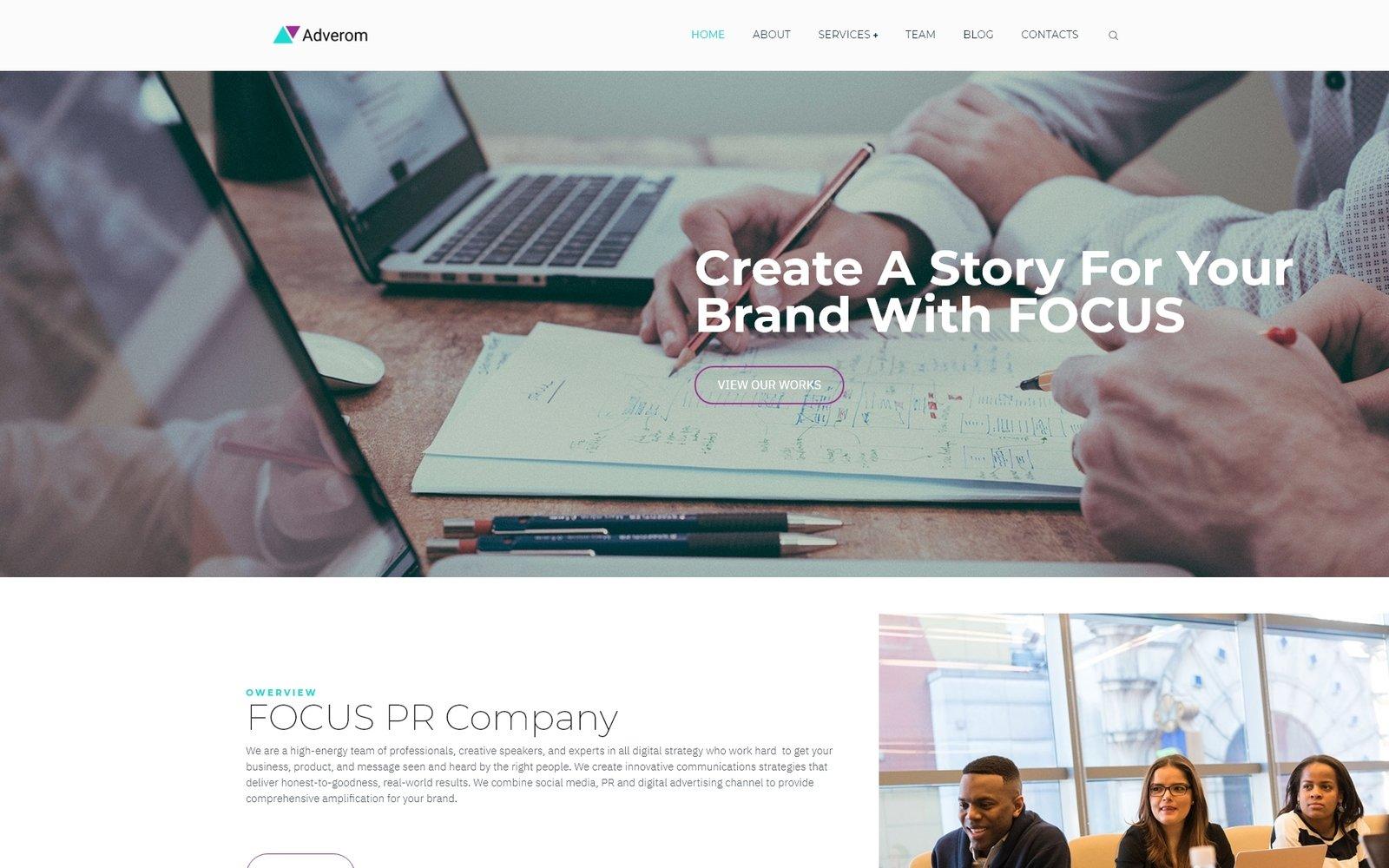 Reszponzív Adverom - PR Company Multipurpose Modern Elementor WordPress sablon 79222