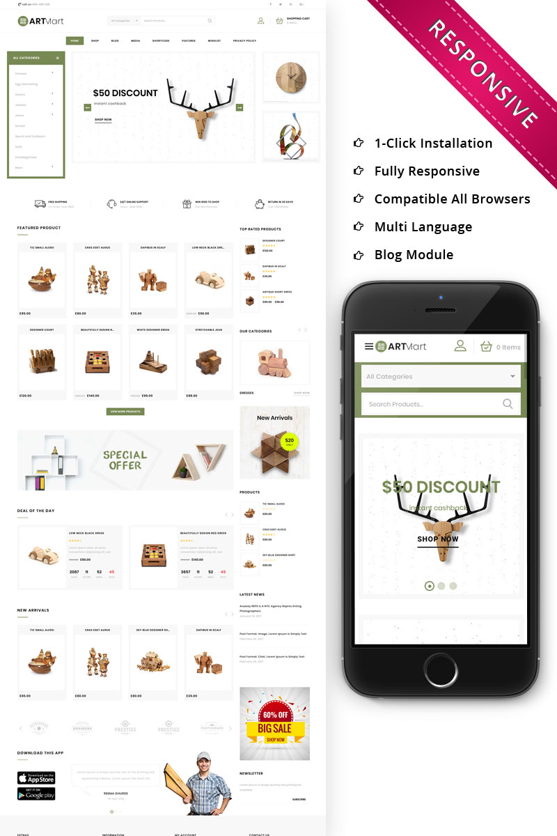 Reszponzív Artmart - The Home Decor Shop Responsive WooCommerce sablon 79250 - képernyőkép